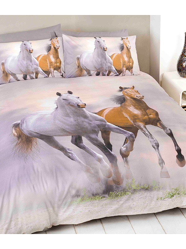 Galloping Horses Double Duvet Cover and Pillowcase Set