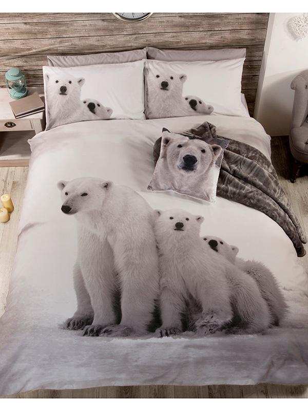Polar Bear Family Double Duvet Cover and Pillowcase Set