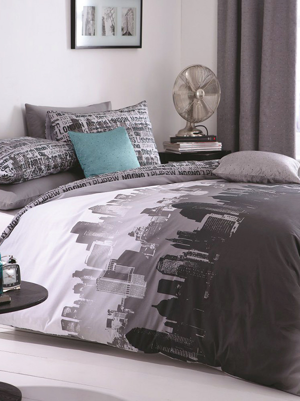 Catherine Lansfield City Scape King Size Duvet Cover Set