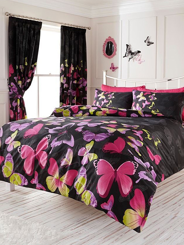 Fashion Butterfly King Duvet Cover and Pillowcase Set - Black