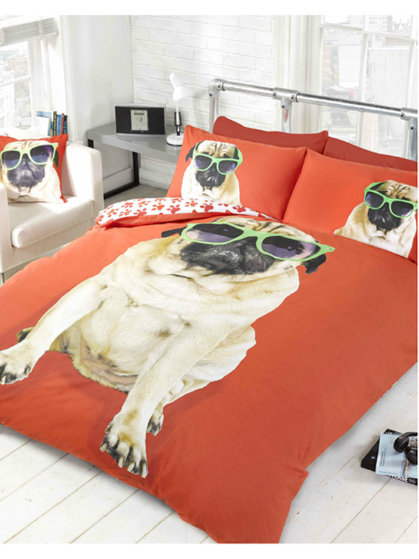 Percy Pug Red Double Duvet Cover & Pillowcase Set