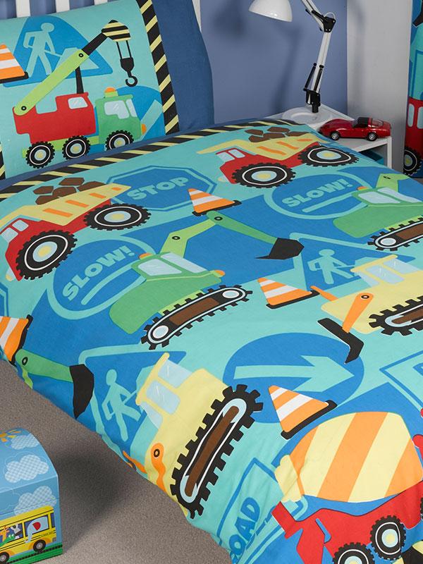 Construction Time Junior Toddler Duvet Cover    Pillowcase Set