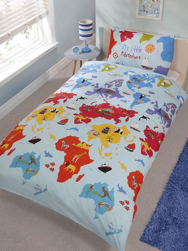 little adventure single duvet cover and pillowcase set