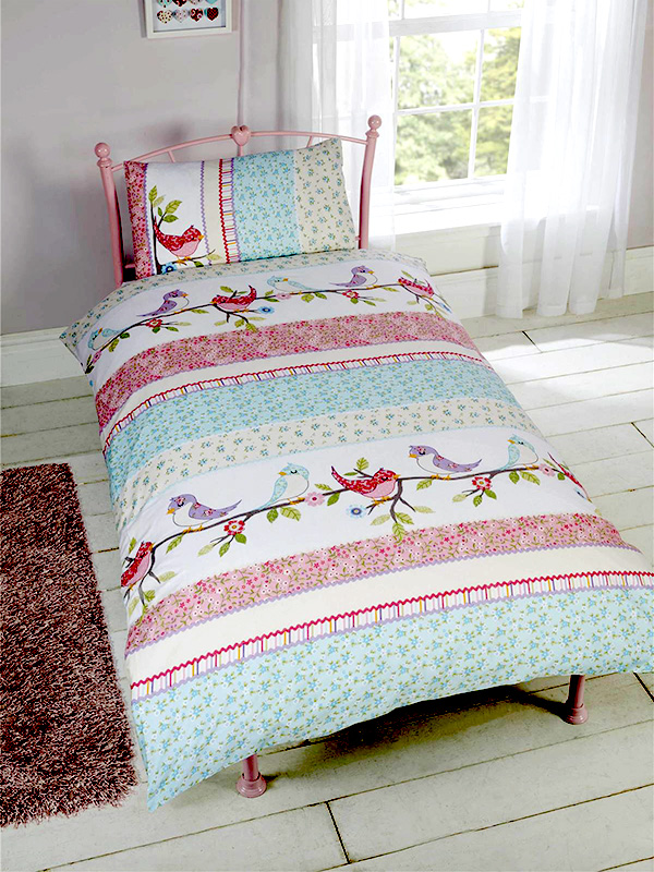 Little Birdies Single Duvet Cover and Pillowcase Set