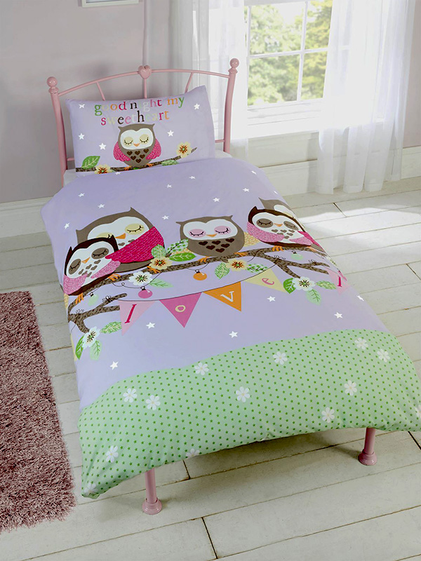 goodnight sweetheart owls single duvet cover and pillowcase set