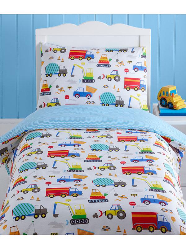 Bright Trucks Junior Toddler Duvet Cover    Pillowcase Set