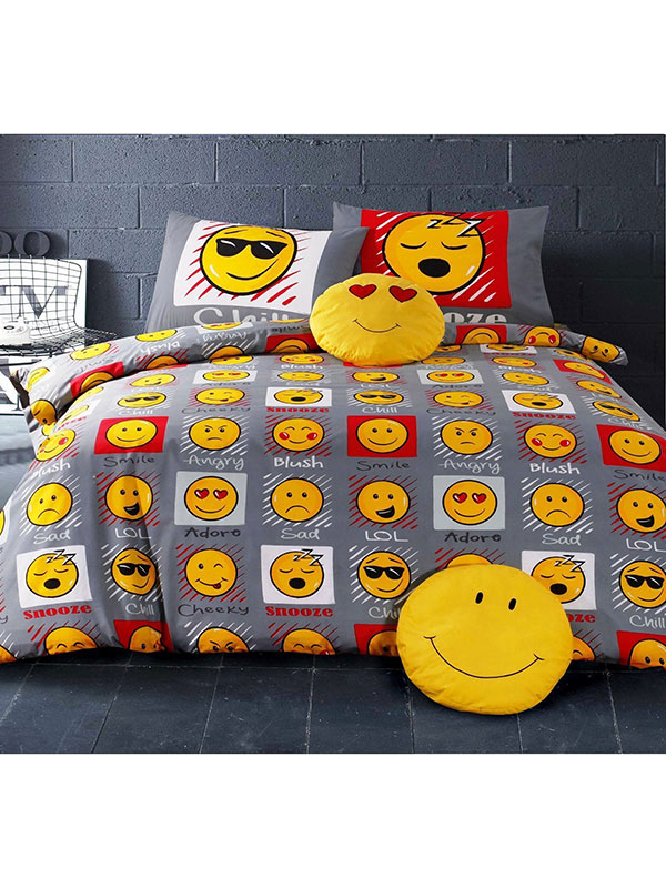 emoji expressions single duvet cover and pillowcase set  grey