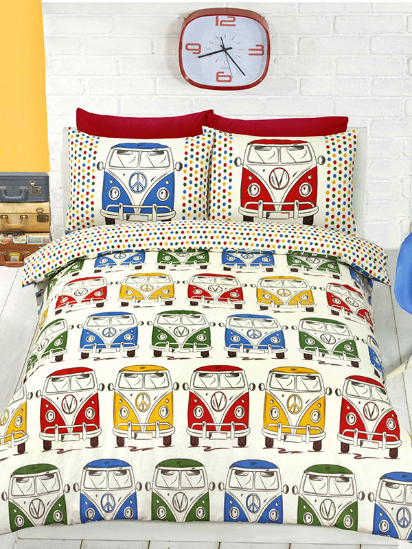 camper van reversible single duvet cover and pillowcase set  cream