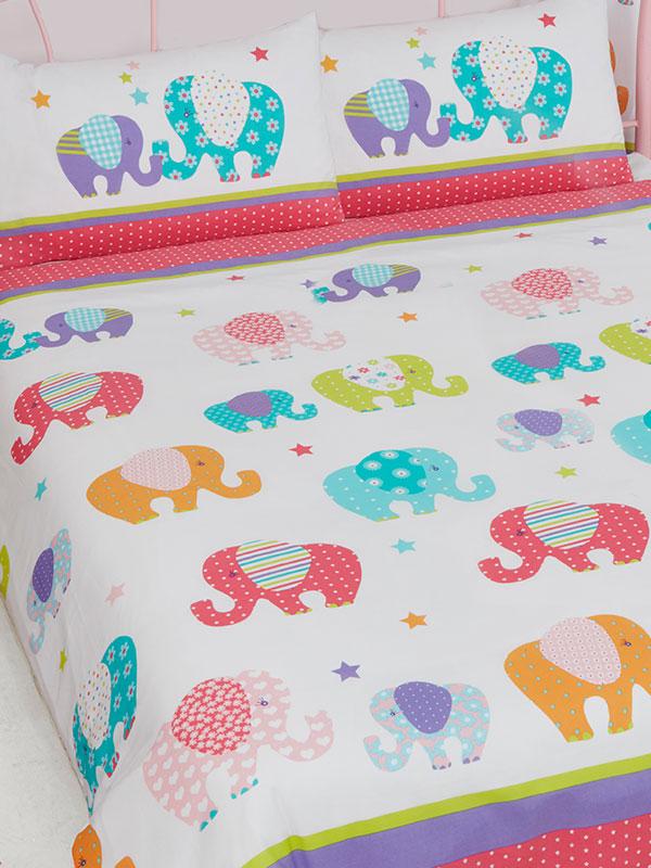 Patchwork Elephant Double Duvet Cover and Pillowcase Set