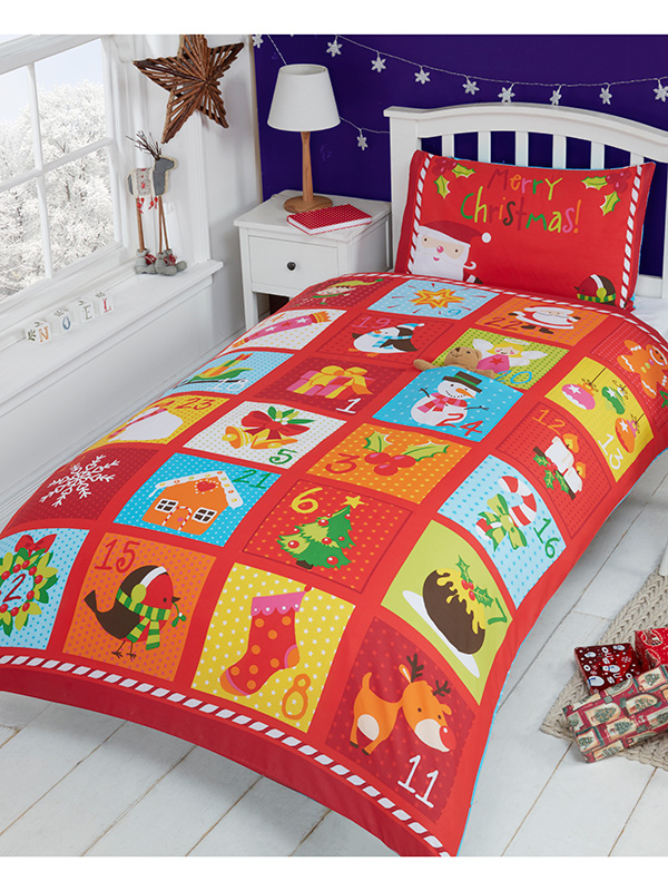 Advent Christmas Single Duvet Cover and Pillowcase Set