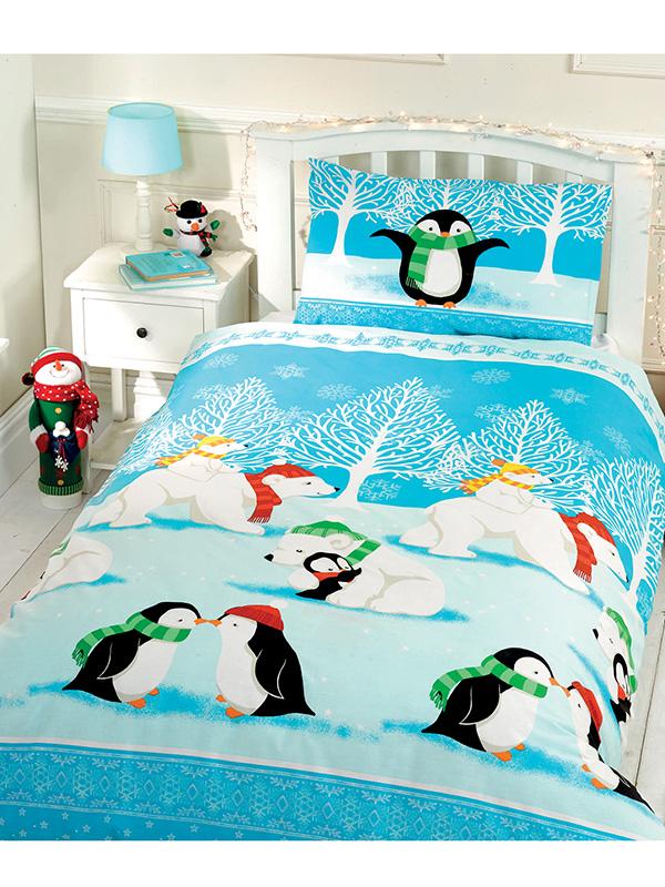 christmas cuddles single duvet cover and pillowcase set