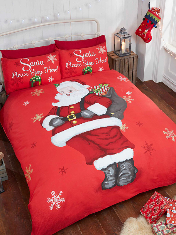 Price Right Home Santa Stop Here Double Christmas Duvet Cover and Pillowcase Set