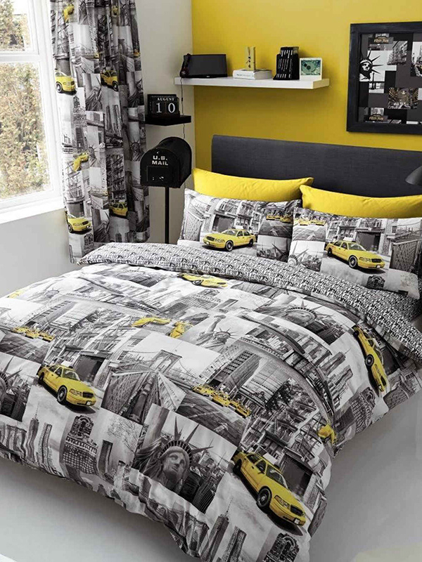 New York Patch Double Duvet Cover and Pillowcase Set
