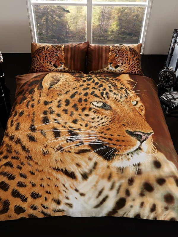 3D Leopard Double Duvet Cover and Pillowcase Set