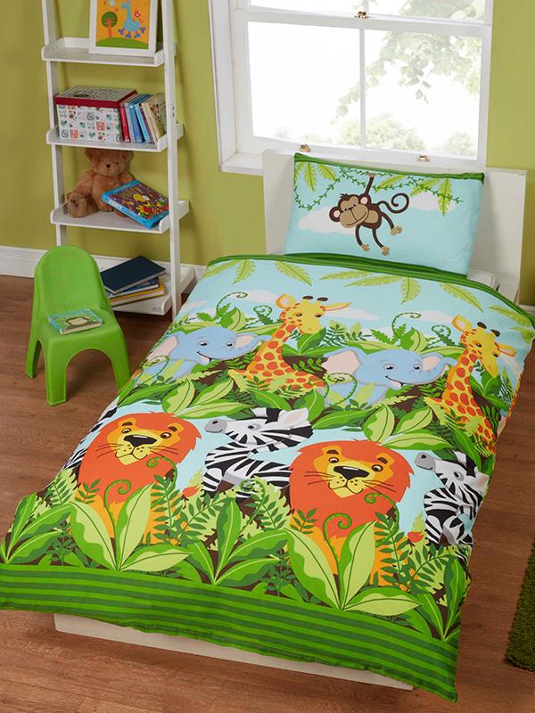 jungle friends single duvet cover and pillowcase set