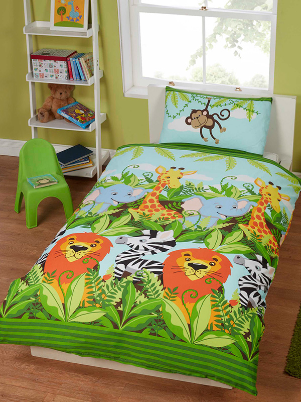 jungle friends junior toddler duvet cover and pillowcase set