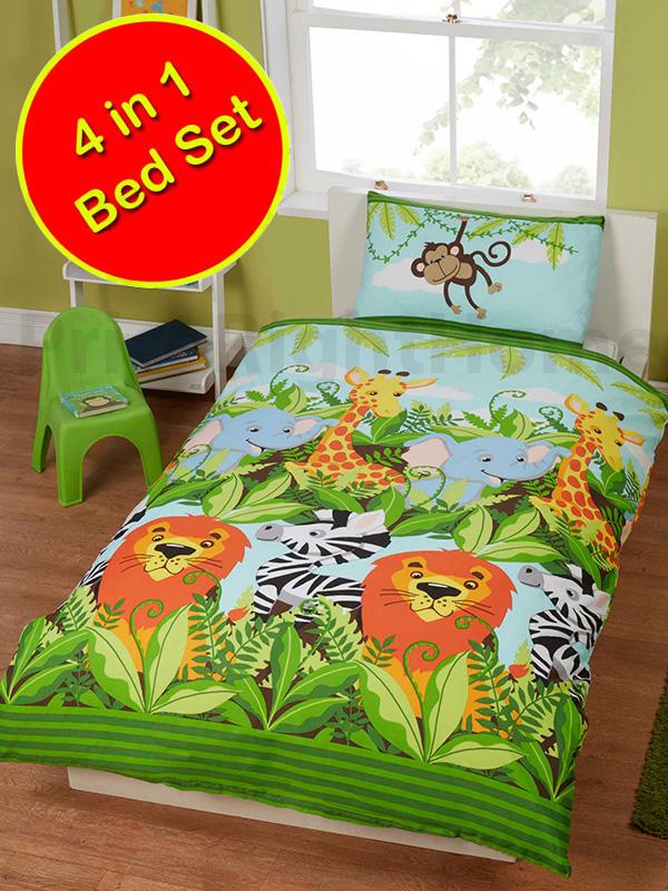 jungle friends 4 in 1 junior bedding bundle set (duvet, pillow and