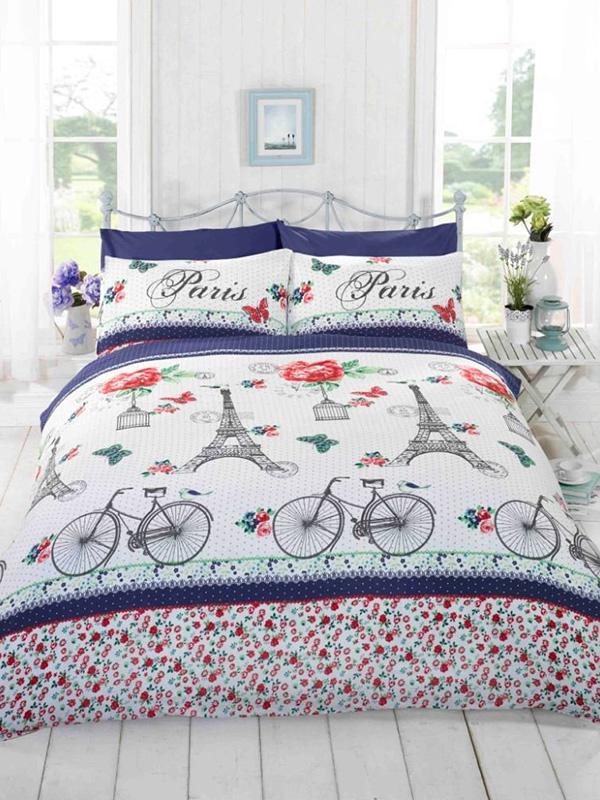 Price Right Home C'est La Vie Paris Red Double Duvet Cover and Pillowcase Set