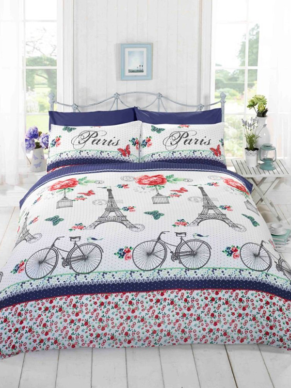 C'est La Vie Paris Red King Size Duvet Cover and Pillowcase Set