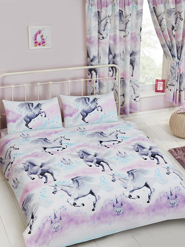 Stardust Unicorn Double Duvet Cover and Pillowcase Set - Purple and thumbnail