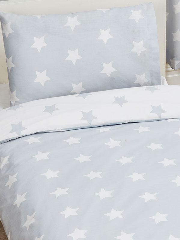 Grey and White Stars 4 in 1 Junior Bedding Bundle Set (Duvet, Pillow