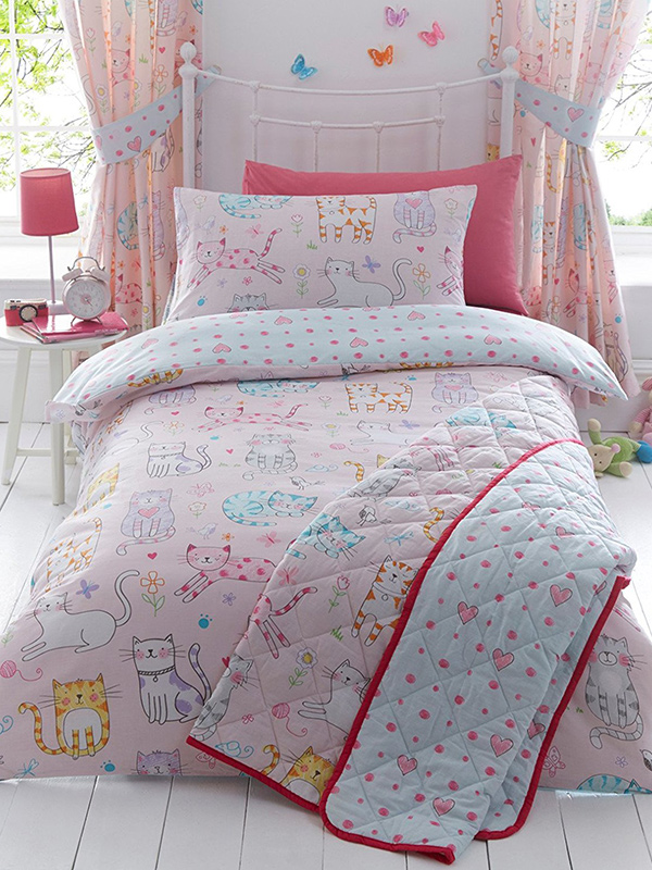 cats single duvet cover and pillowcase set