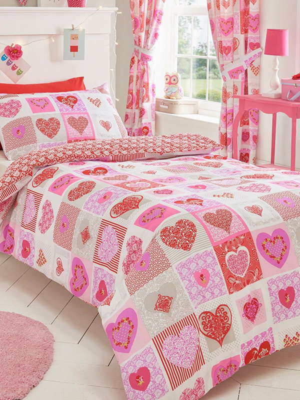 Price Right Home Lace Hearts Single Duvet Cover and Pillowcase Set