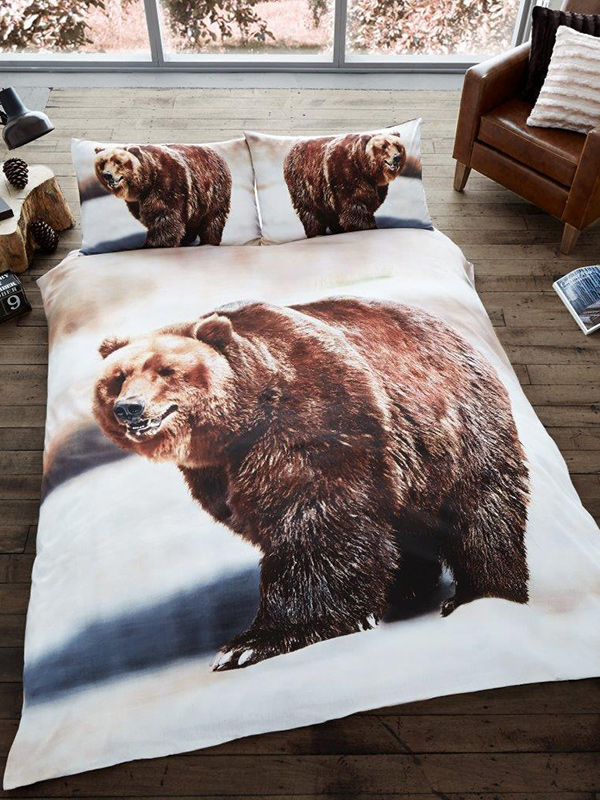 Price Right Home 3D Bear Single Duvet Cover and Pillowcase Set