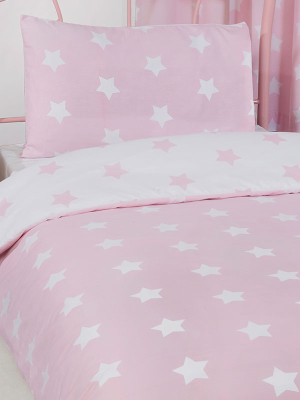 Pink and White Stars 4 in 1 Junior Bedding Bundle Set (Duvet, Pillow