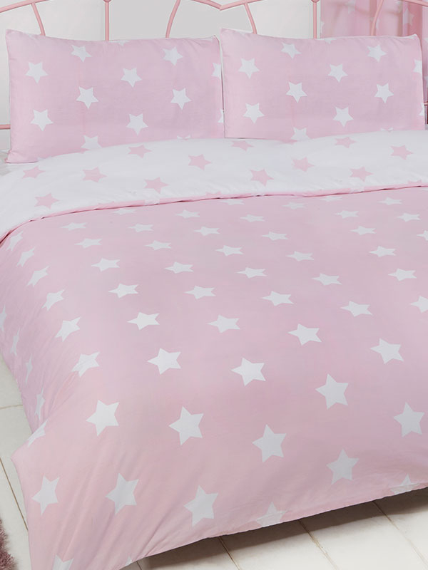 Pink and White Stars Double Duvet Cover and Pillowcase Set