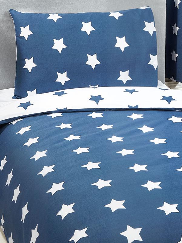 Navy Blue and White Stars 4 in 1 Junior Bedding Bundle Set (Duvet,