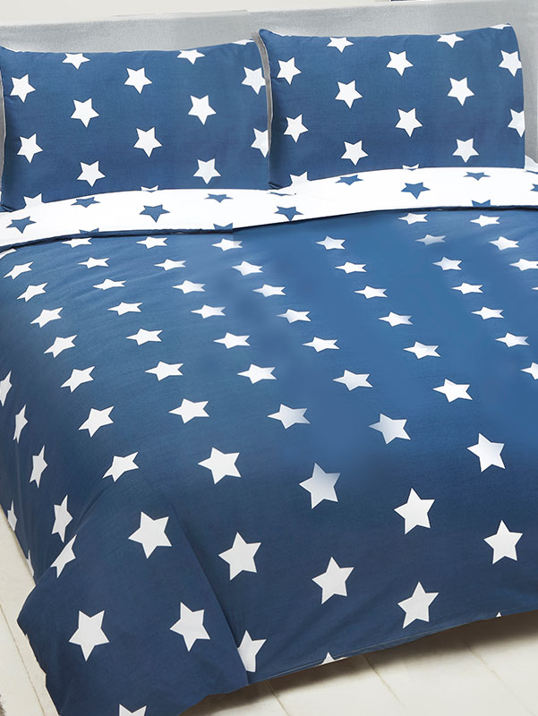 Navy Blue and White Stars Double Duvet Cover and Pillowcase Set