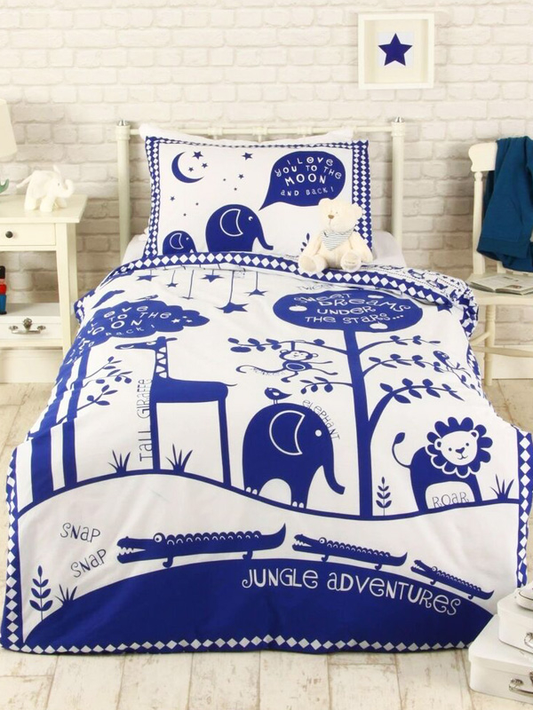 Jungle Adventure Single Duvet Cover Set - Blue