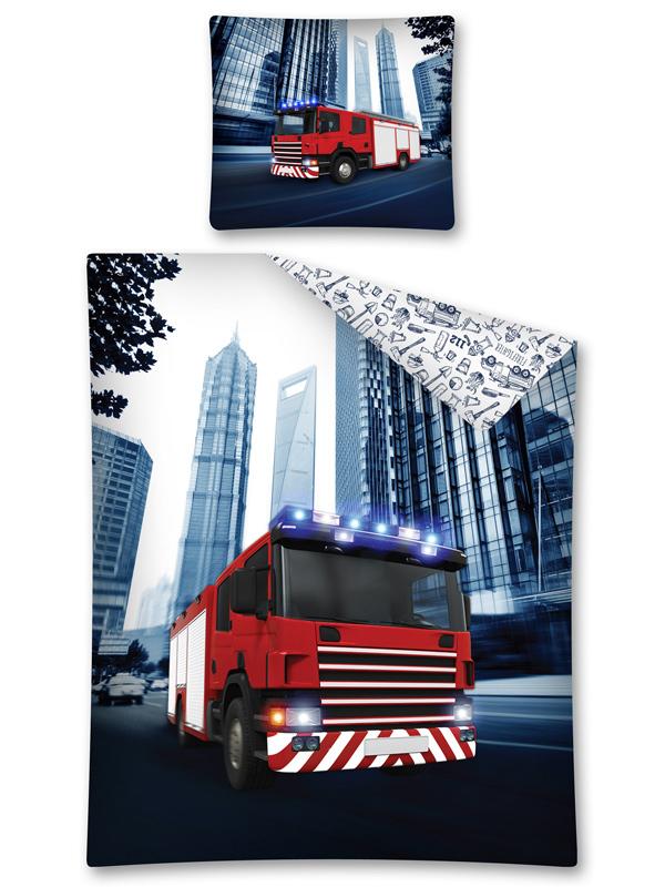 Fire Truck Single Cotton Duvet Cover Set