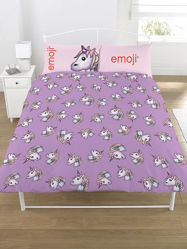 Emoji Unicorn Double Duvet Cover and Pillowcase Set