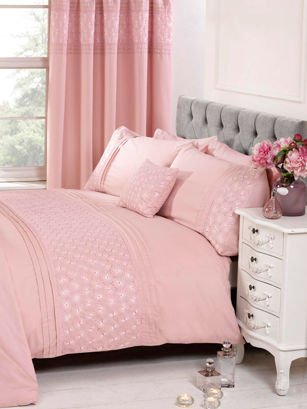 Everdean Floral Blush Pink Super King Duvet Cover and Pillowcase Set