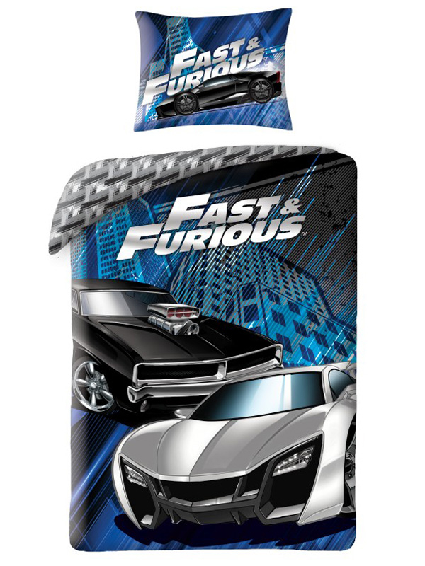 Fast & Furious Blue Single Cotton Duvet Cover Set