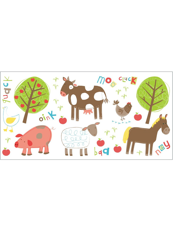farm animals wall stickers  25 pieces