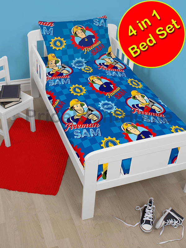 fireman sam workshop 4 in 1 junior rotary bedding bundle set (duvet +