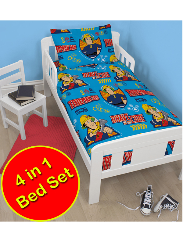 fireman sam brave 4 in 1 junior rotary bedding bundle set (duvet,
