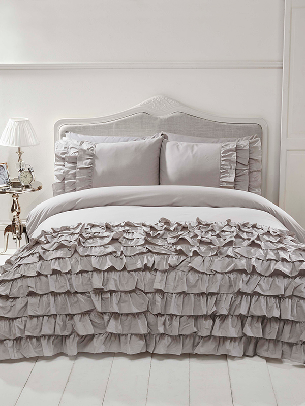 Flamenco Ruffle Grey Super King Duvet Cover and Pillowcase Set