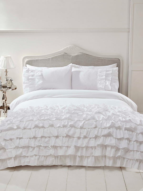 Flamenco Ruffle White Super King Duvet Cover and Pillowcase Set