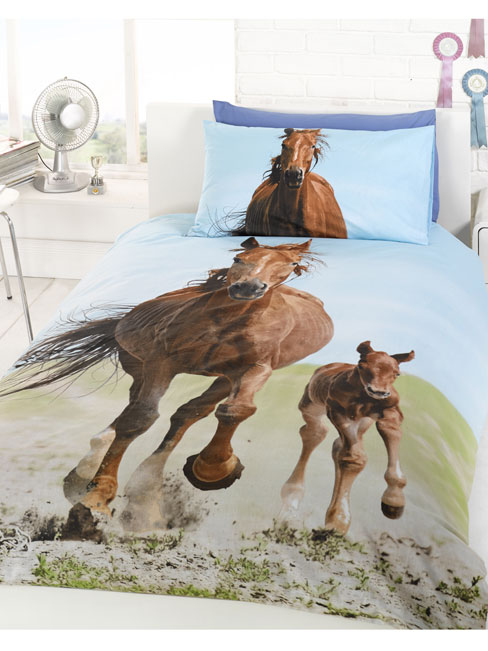follow my lead horse and foal single duvet cover and pillowcase set