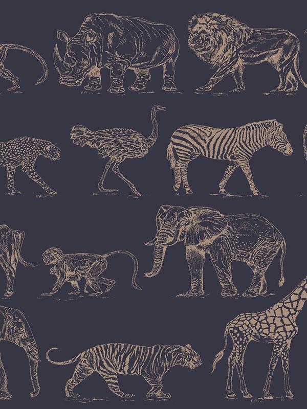 Boutique Safari Animals Wallpaper Navy Blue / Rose Gold Graham    Brown
