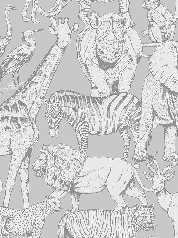 Jungle Animals Wallpaper Grey Graham    Brown 108567