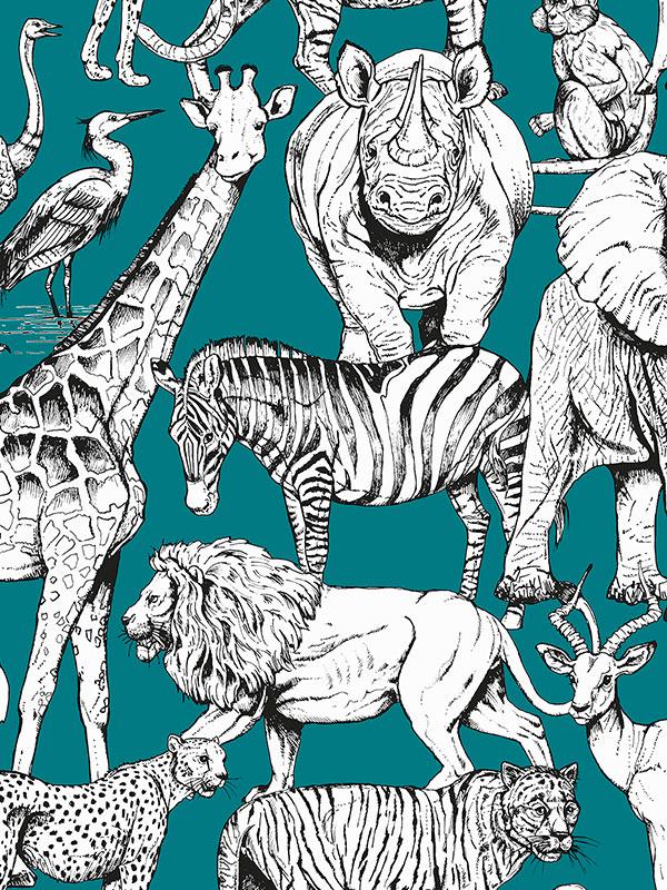 Jungle Animals Wallpaper Green Graham    Brown 107692