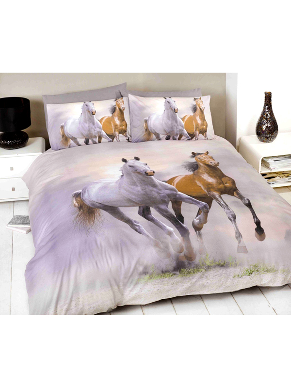 Price Right Home Galloping Horses Single Duvet Cover and Pillowcase Set
