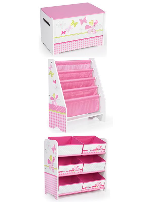 Pink Patchwork Bedroom Furniture Storage Set