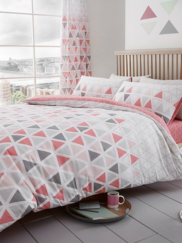 Geo Triangle King Size Duvet Cover and Pillowcase Set - Pink