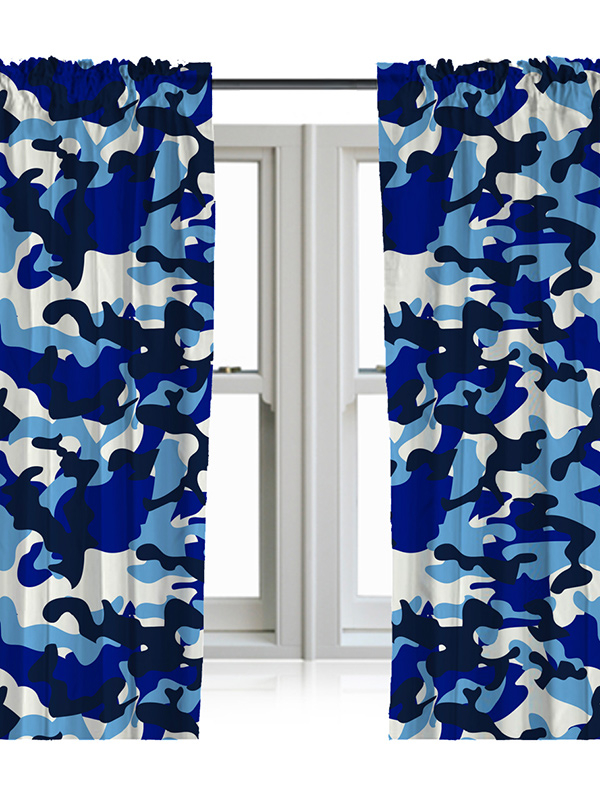 Blue Camouflage Curtains